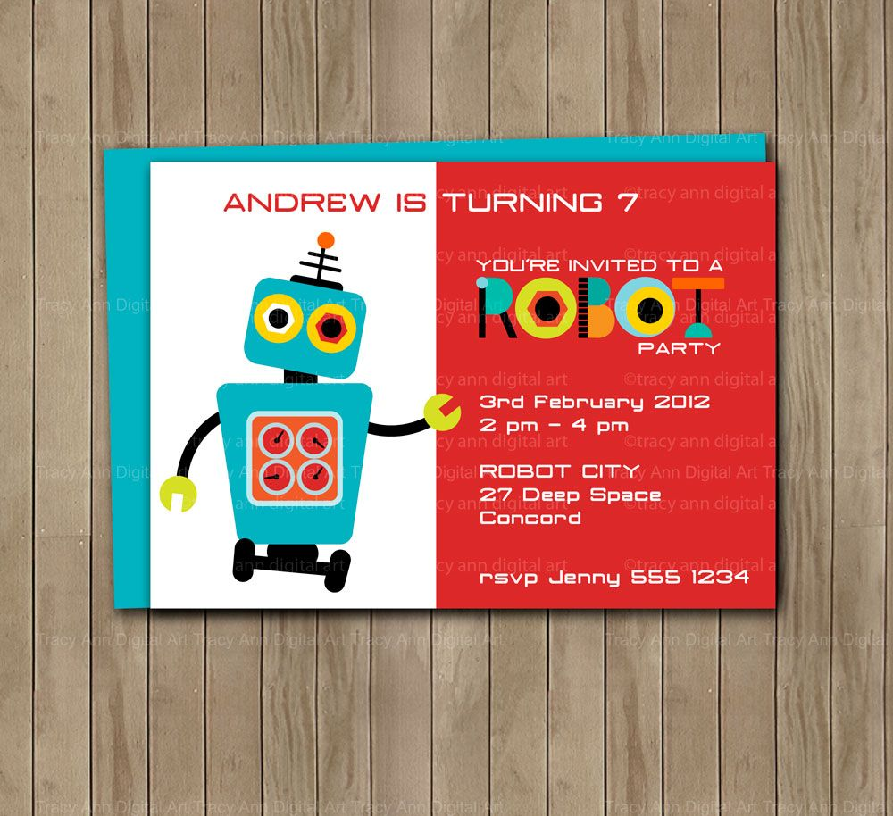 Robot birthday party invite fiesta ideas pinterest robot and robot birthday party invite filmwisefo Gallery