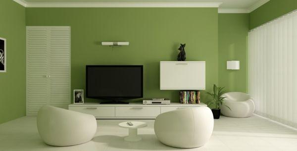 Grüne Farbe Und Weiße Möbelstücke Im Luxus Wohnzimmer   Wohnzimmer Streichen  U2013 106 Inspirierende Ideen