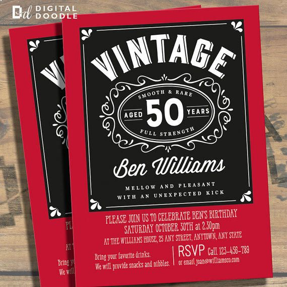 50th Birthday Invitation Invite 50 Digital Milestone Template For Man From Design Invent Print