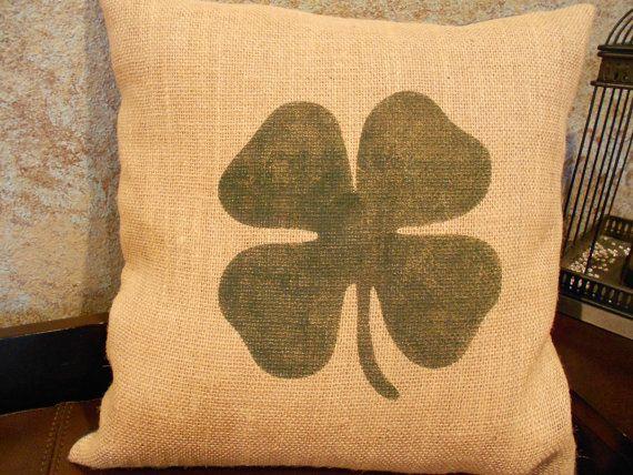 Burlap four leaf clover/shamrock pillow cover  St by LaRaeBoutique, $35.00
