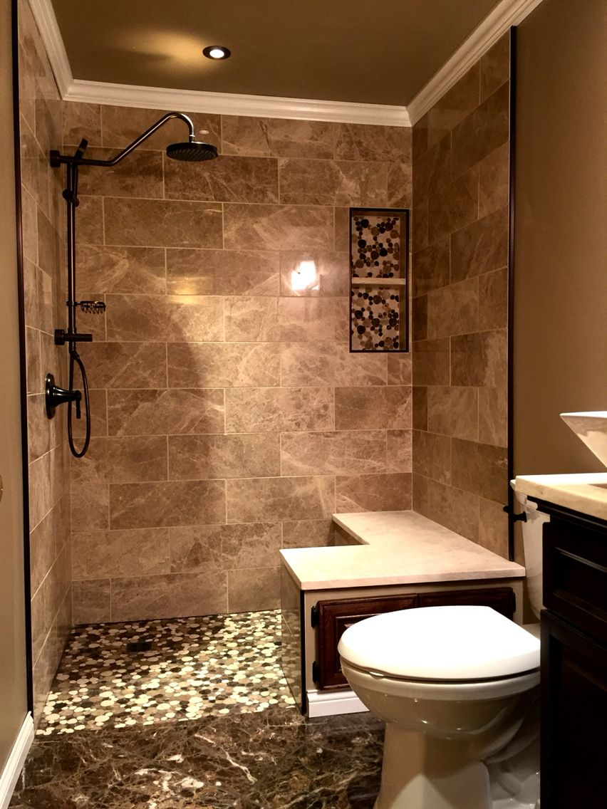 Bathroom design marble tile bathroom brown marble beige marble tile walk in shower pebble stone Beige brown bathroom design