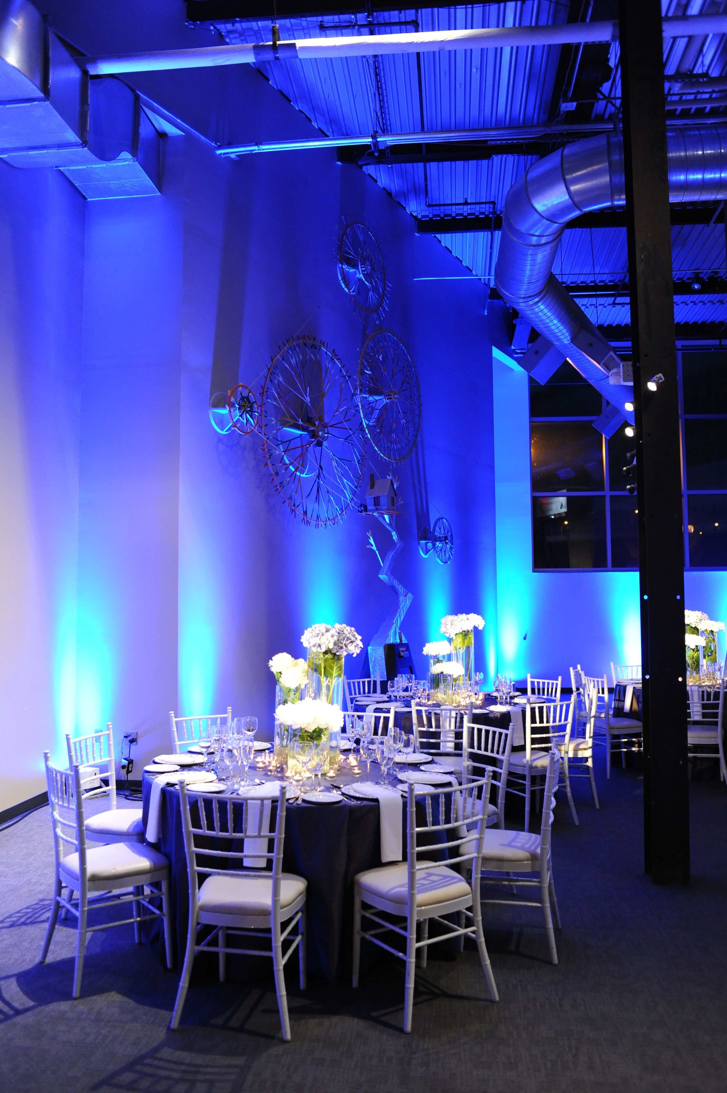 Vibrant blue led up lightingwall washing dance floor wash and vibrant blue led up lightingwall washing dance floor wash and custom monogram at the delaware center for contemporary arts wedding lighting by aloadofball Image collections