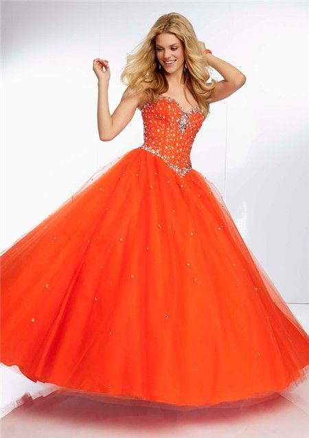 Ball Gown Sweetheart Orange Tulle Beaded Crystal Quinceanera Prom ...