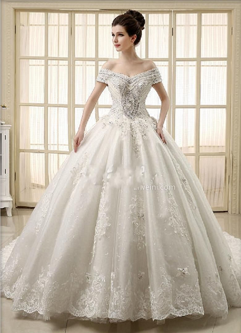 Cheap 2015 Ball Gown Wedding Dresses Beaded Crystal Cathedral Train ...