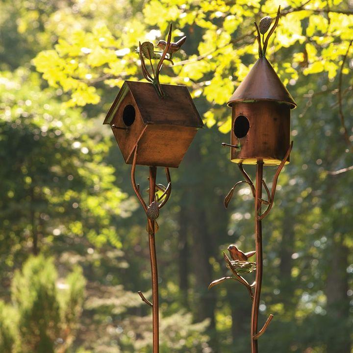 Birdhouse Garden: Copper Birdhouse Garden Stake