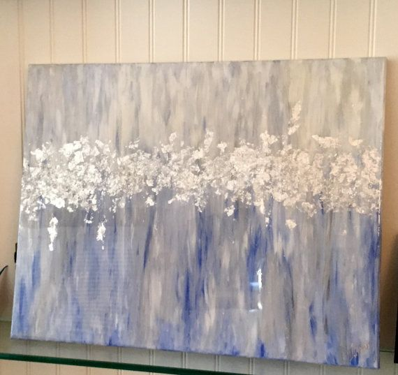 Fresh Acrylic and Silver Leaf Abstract Painting with High Gloss Resin  BX47