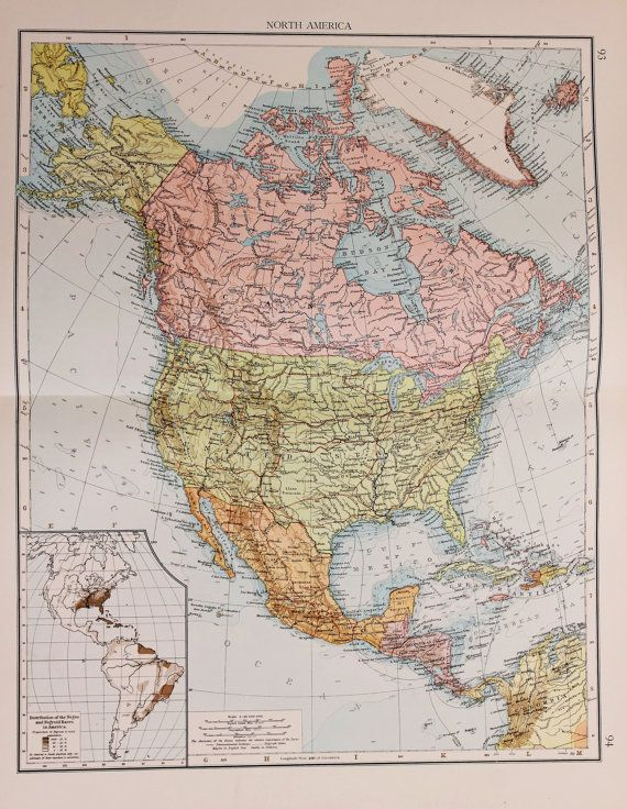 Large 1900 Antique Times Map, North America, Continent, USA, Canada ...