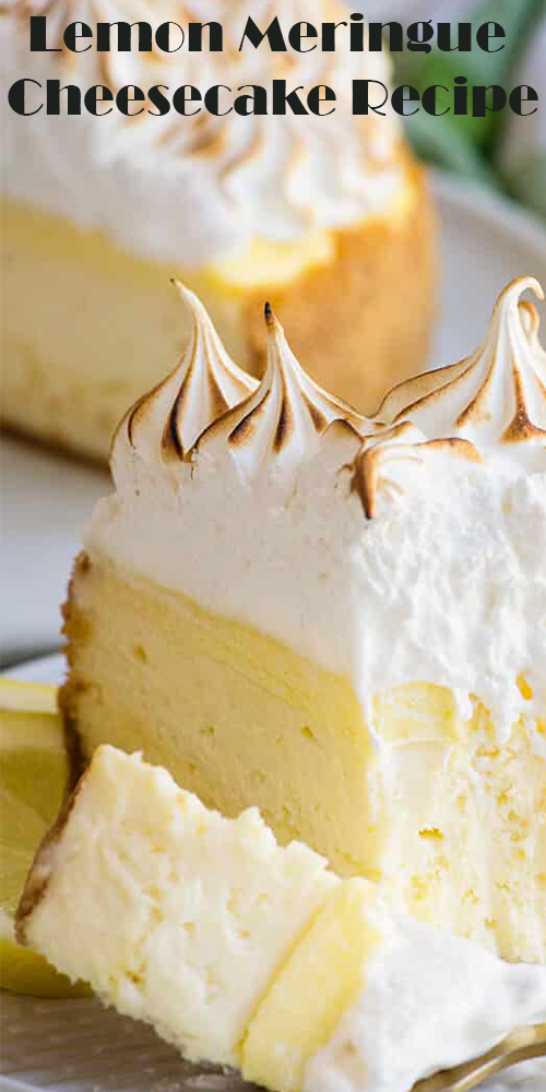 This Lemon meringue pie cheesecake is decadent and rich - a lemon cheesecake with a ribbon of homemade lemon curd running through the middle, another layer of lemon curd spread across the top. #lemonmeringuecheesecake