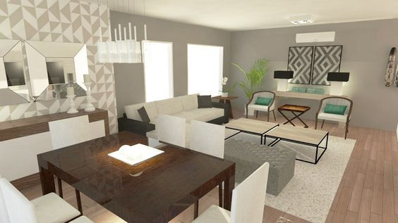 Tendencia en decoraci n de sala y comedor juntos 2018 2019 for Como decorar un living comedor rectangular