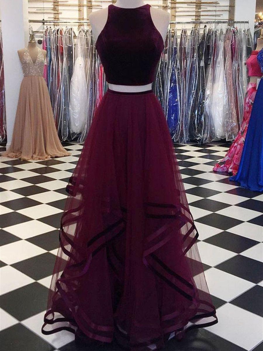 Custom Made Round Neck 2 Pieces Purple Prom Dresses 2 Pieces Purple Formal Dresses Graduation Dres Cute Prom Dresses Piece Prom Dress Tulle Party Dress [ 1200 x 900 Pixel ]