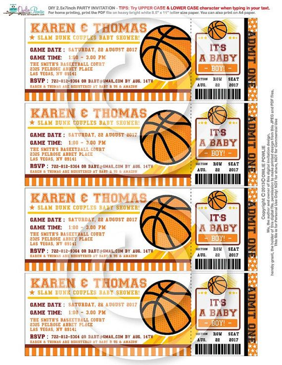Basketball ticket pass baby shower printable 2 5 x 7 inch for Sports ticket template free download