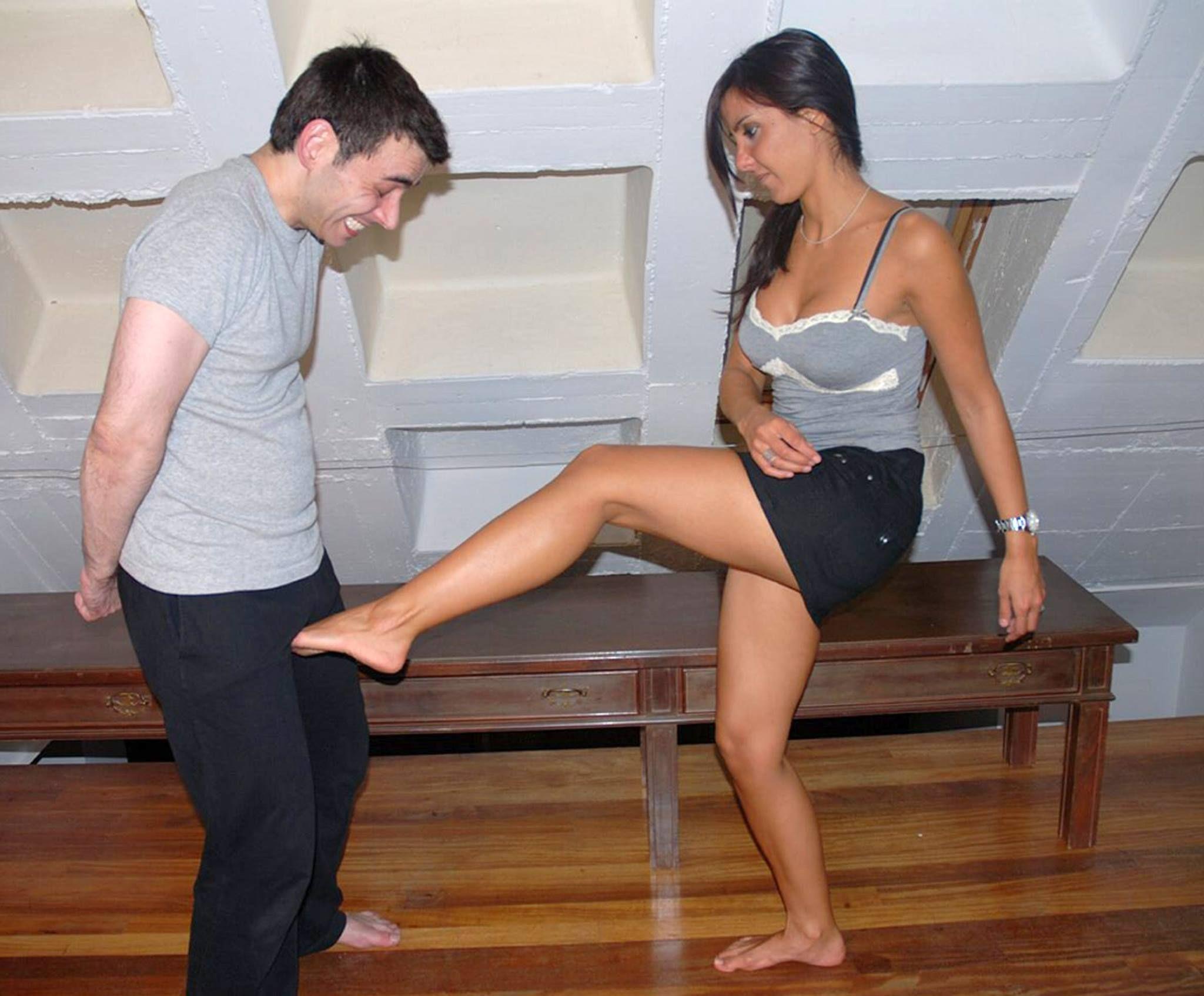 Hot Woman Teaching Self Defense Kicking And Ballbusting Wearing Miniskirt
