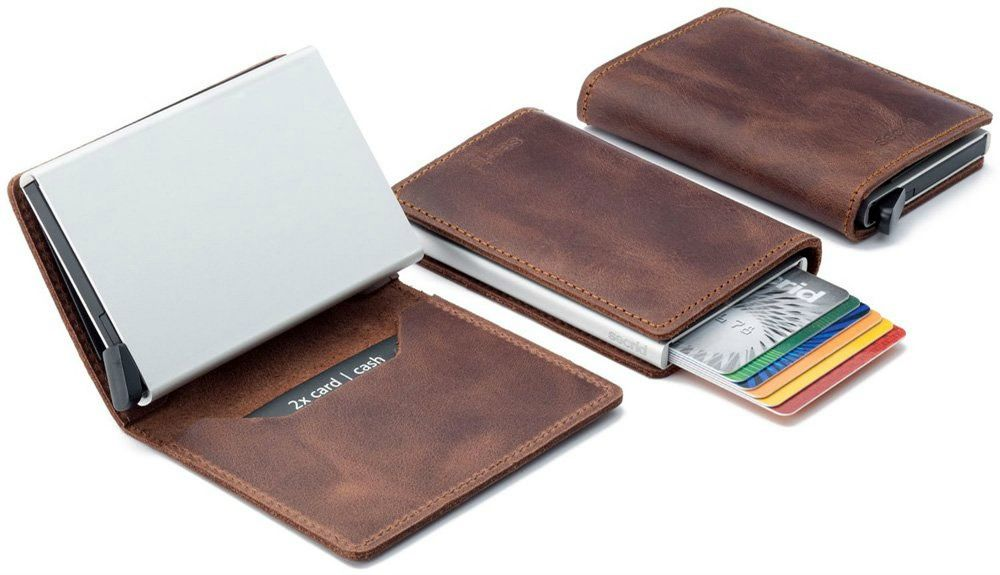 Silver Money Clip Slim Wallets Simple Fashion Leather Gift ID Credit Card Holder