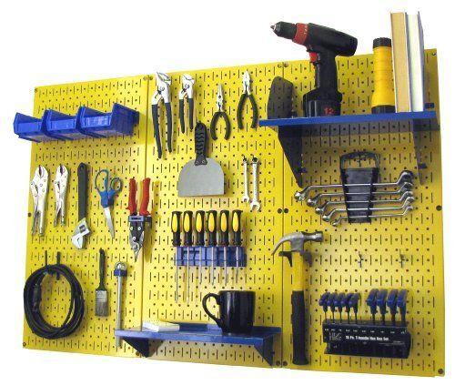 Pegboard Organizer Wall Control 4 Ft Metal Pegboard Standard Tool Storage Kit With Yellow Toolboard And Blue Accessor Storage Kits Tool Storage Metal Pegboard