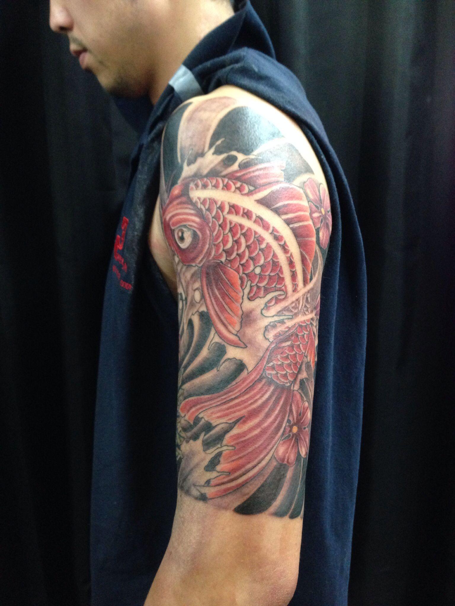 Half Sleeve Koi Fish Blacky S Tattoo Studio Sleeve border=