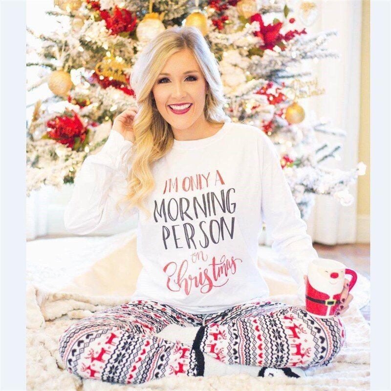 Women Christmas Pajamas T-Shirt Pants Women Santa Long Sleeve Sleepwear Autumn Winter Warm Nightwear Lounge Clothes Pajama Sets