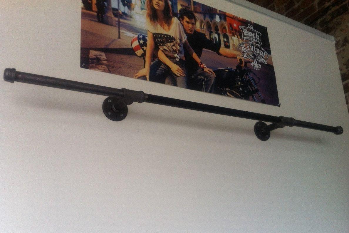 Industrial pipe hang bar clothing display black pipe wall