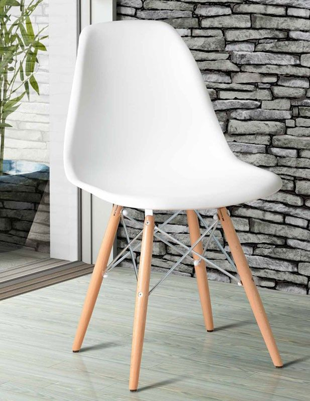 Eames Style White DSW Eiffel Chair Stainless steel, 35