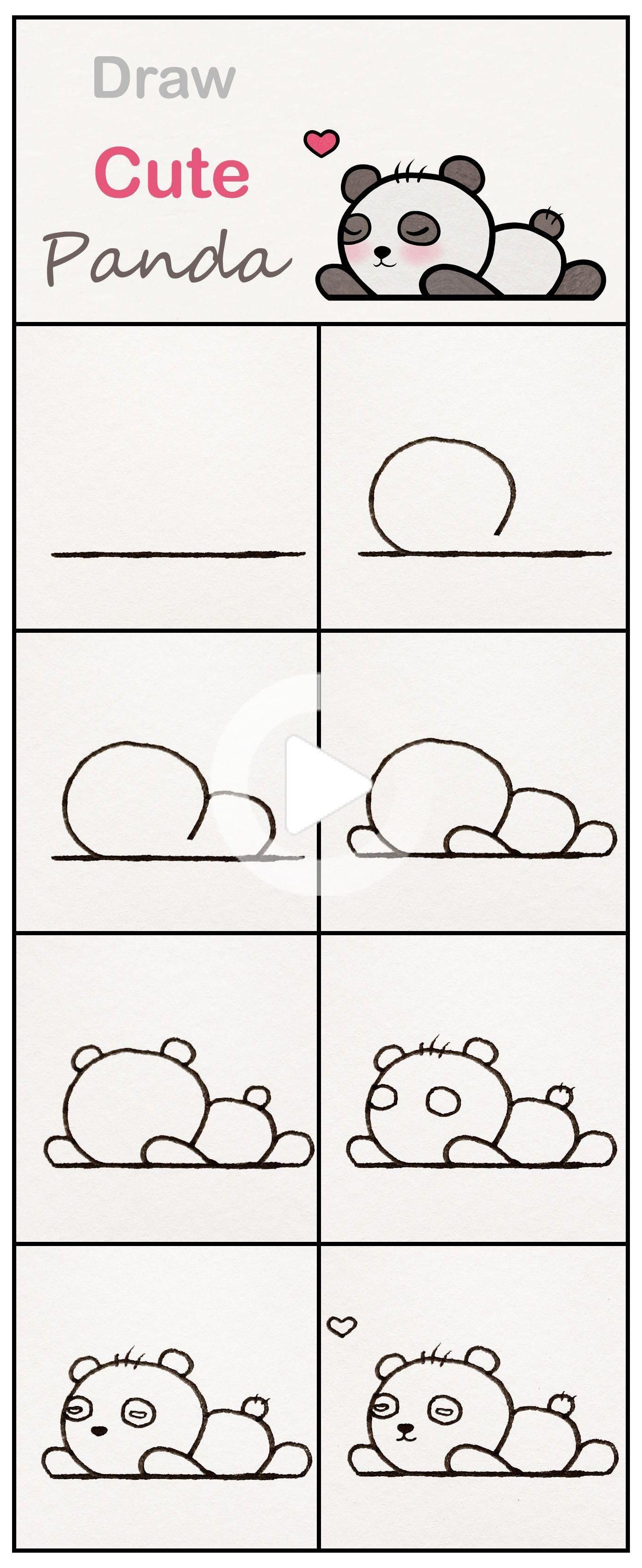 Learn How To Draw A Cute Baby Panda Step By Step Very Simple Tutorial Panda Drawings Kawaii Easy Drawings Cute Drawings Cute Panda Baby