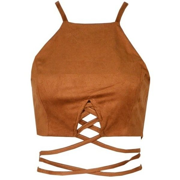 8c923c06b5c57 Brown Suede Lace Up Crop Top (130 BRL) ❤ liked on Polyvore featuring tops