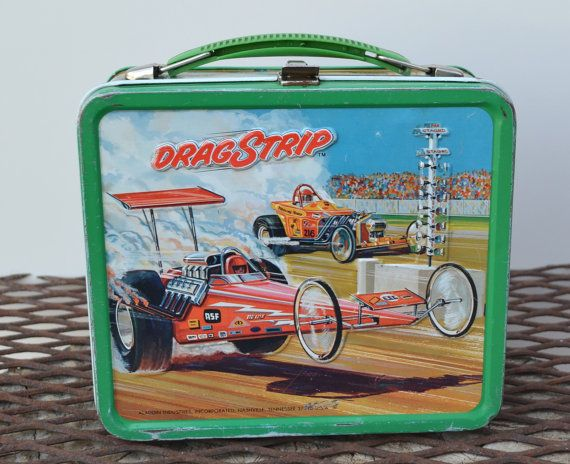 Vintage Aladdin Lunch Box Metal With Thermos DragStrip 1975. $68.00, via Etsy.
