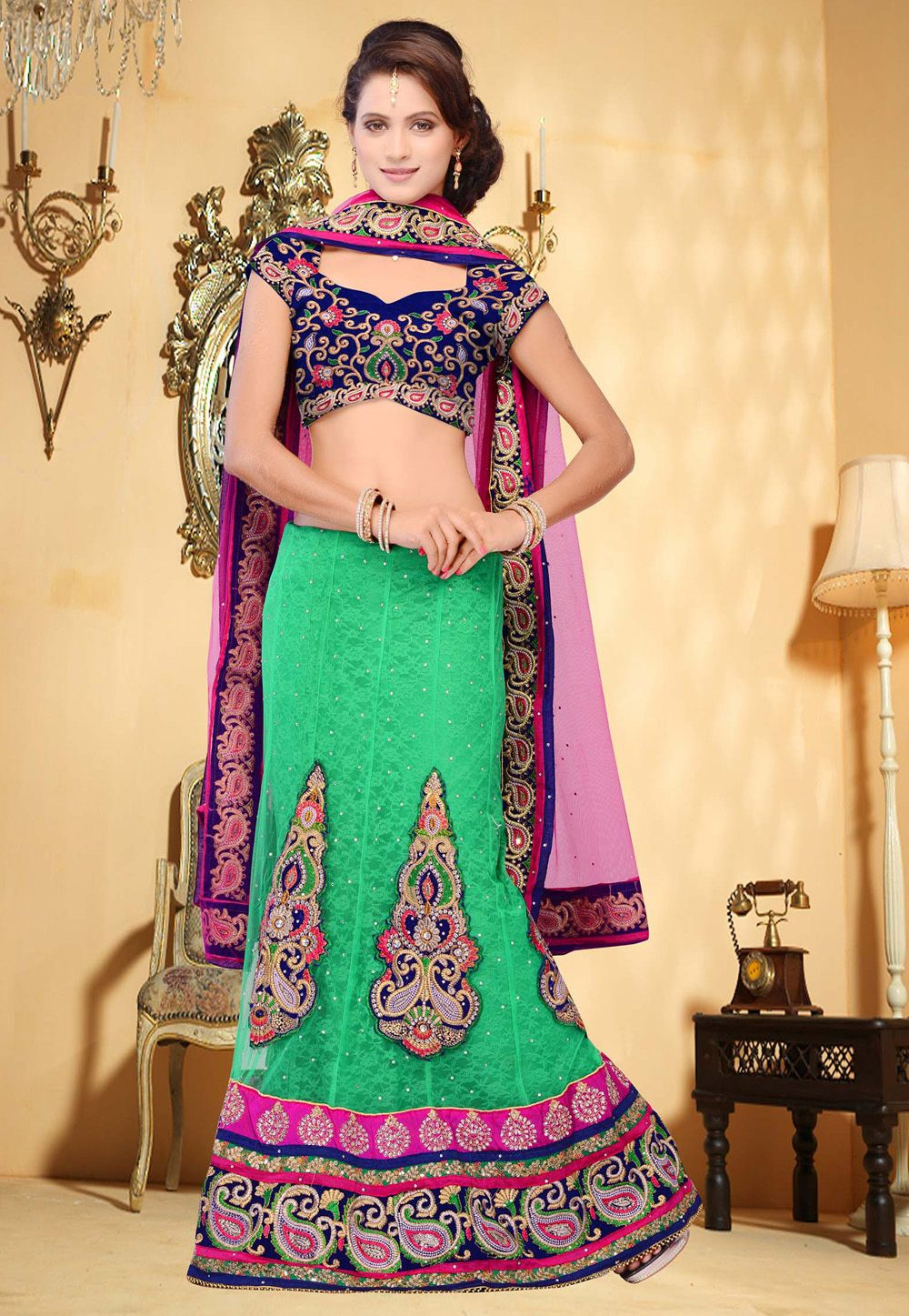 green net #lehengacholi with dupatta. item code: ljw4 price