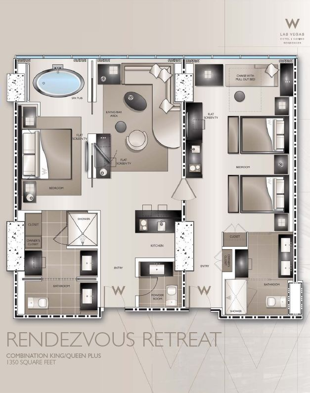 Hotel Room Blueprint: Typical W Hotel Guestroom Plans - Google Search