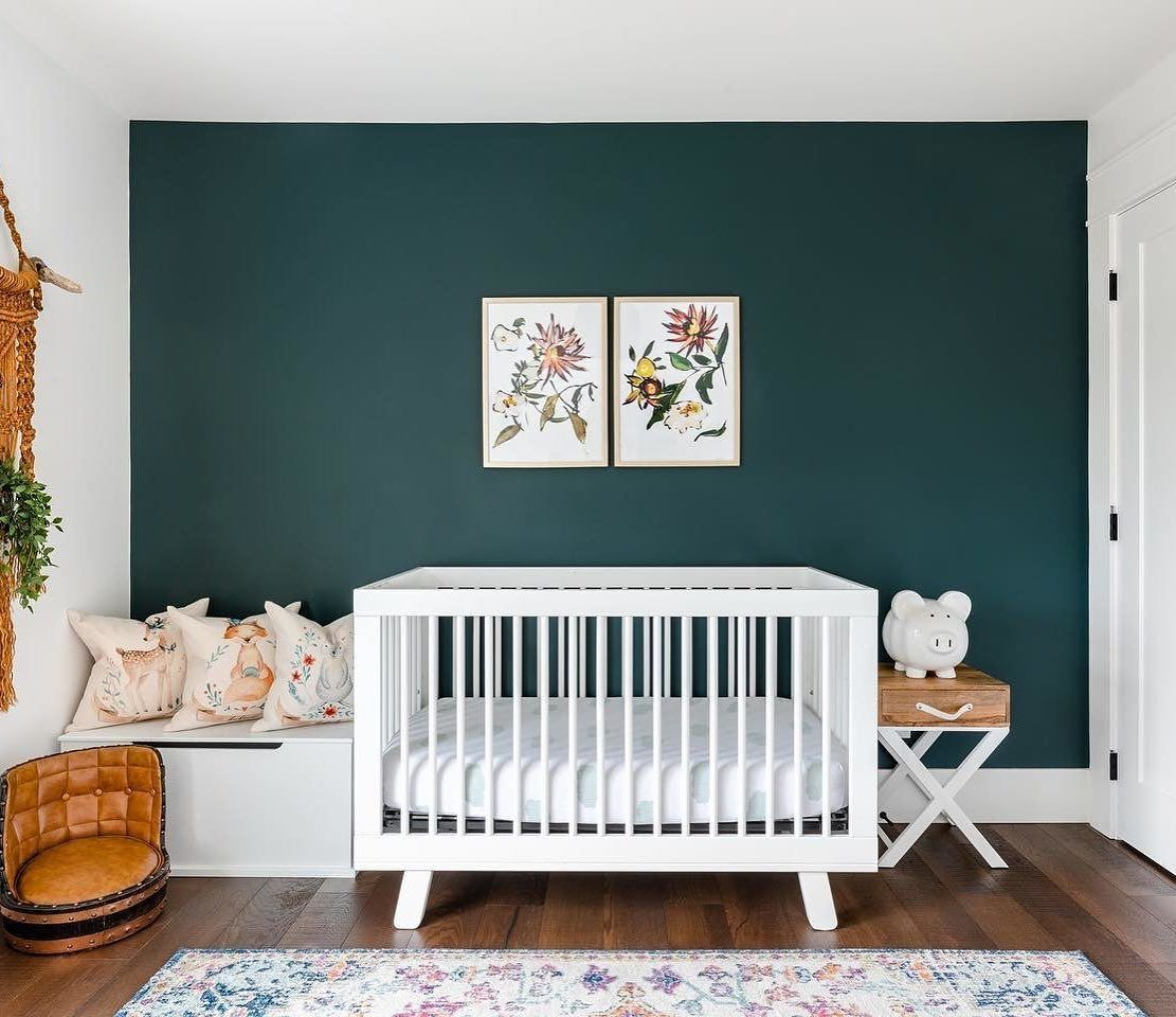 Nursery With Green Accent Wall In 2020 Green Boys Room Green