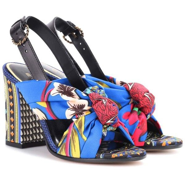 cfa38dfff8b7 Etro Printed Satin Sandals ( 675) ❤ liked on Polyvore featuring shoes