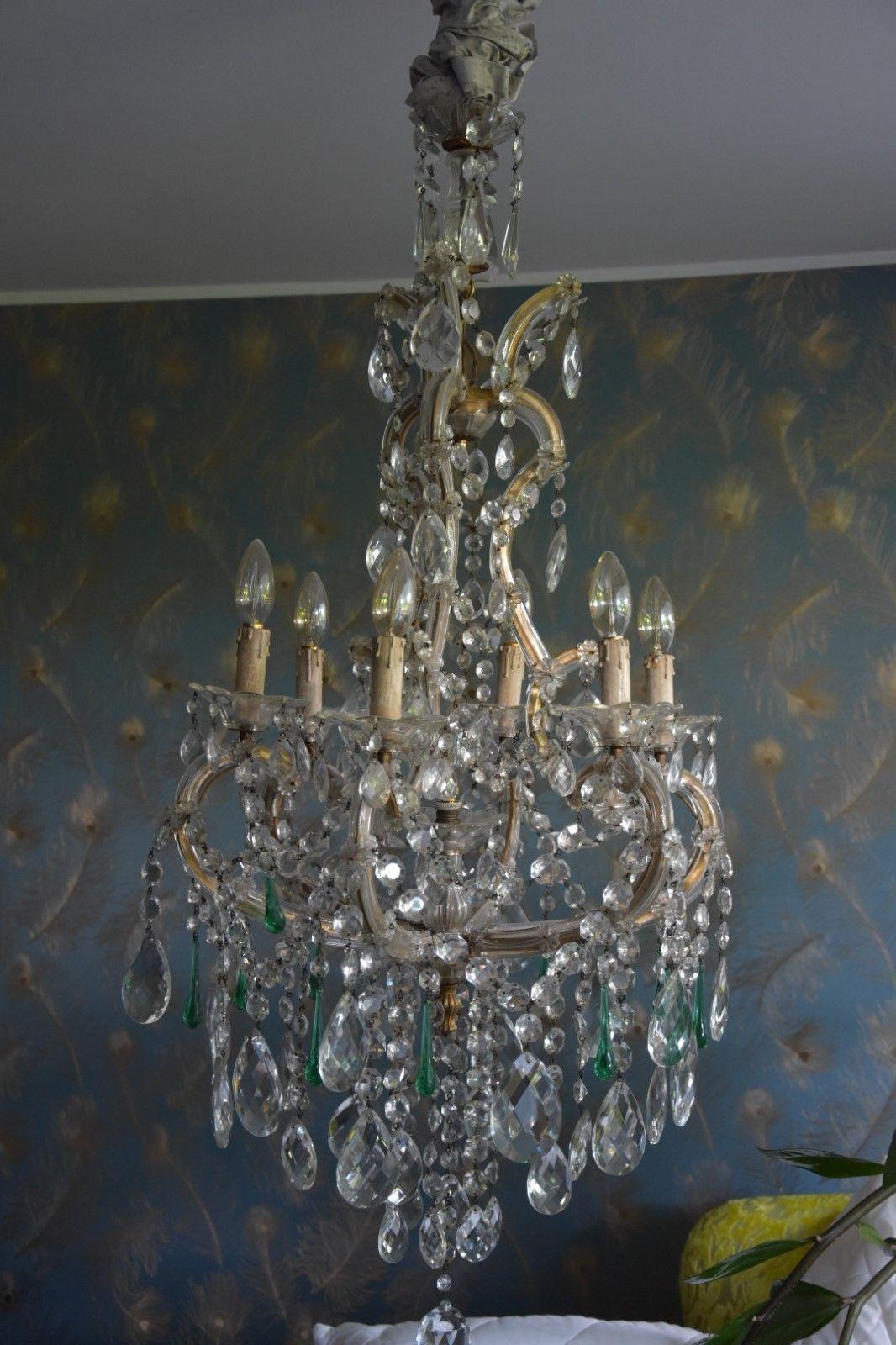 Antiker Wiener Kristall LÜster Kronleuchter Lampe Ebay Chandelier Ceiling Lights Light