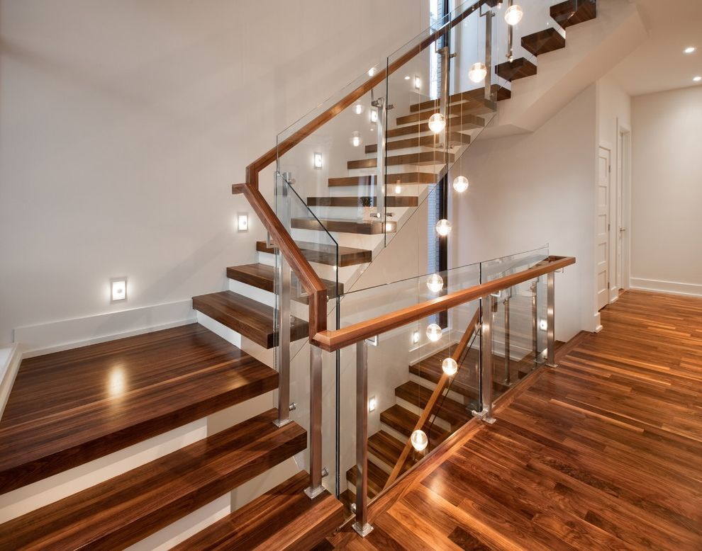 Thick Stair Treads Contemporary Staircase Also Glass