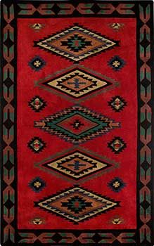 Stunning Red Southwestern Rug Hand Tufted From Plush New Zealand
