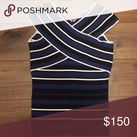 Timo.Weiland Top Beautiful bandeau inspired knit top with blue black and white strips and a crisscross detail at the top. Timo Weiland Tops Tank Tops