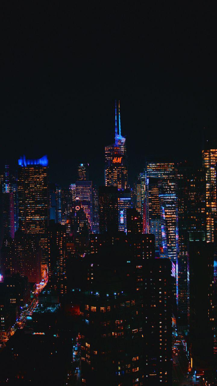 Cityscape, buildings, dark, 720x1280 wallpaper