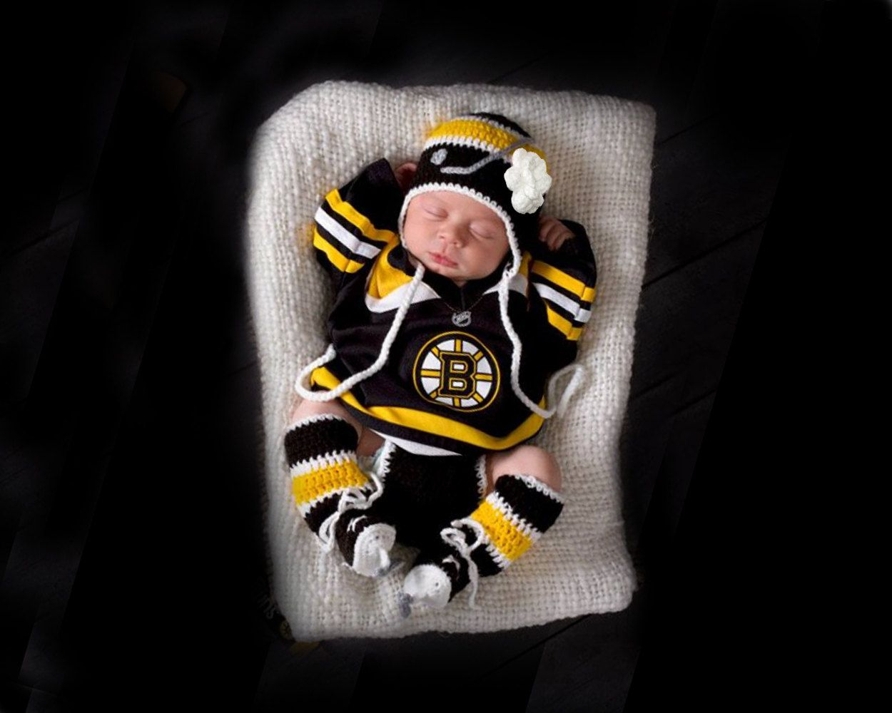 Photo of Baby Girl Hockey, Baby Crochet Hockey, Baby Girl Clothes, Knit Hockey Skates, Hockey Baby Clothes, Black Gold Hockey, Coming Home Outfit