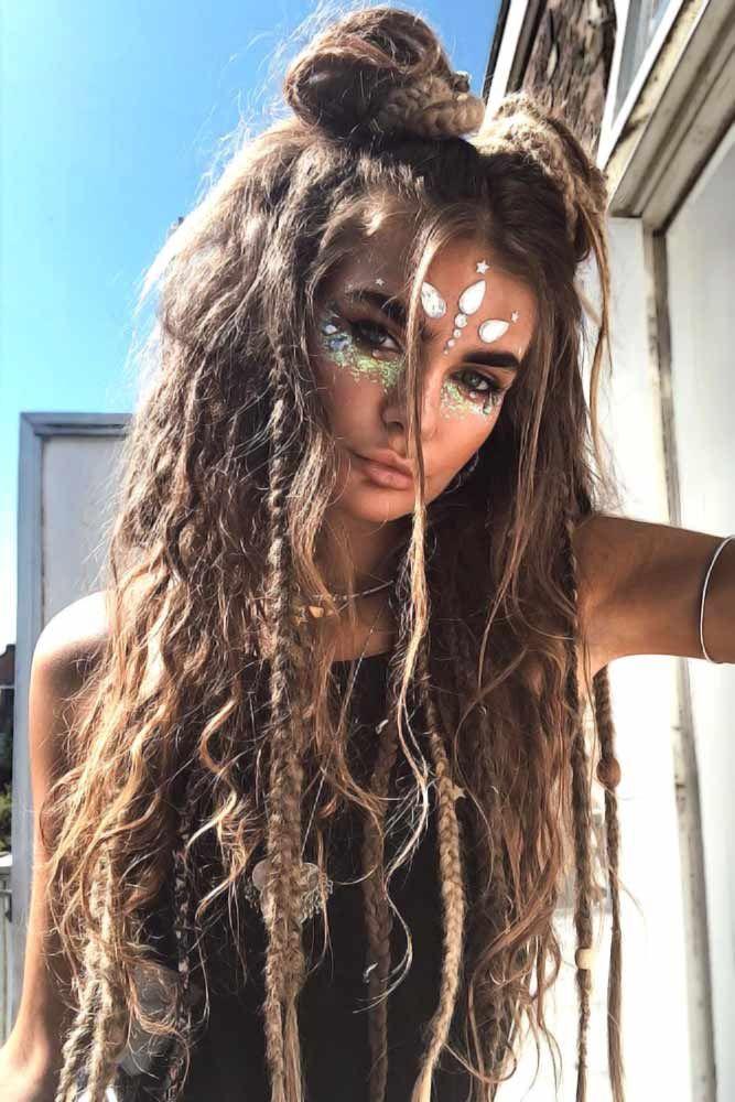 30 Peace Love Hippie Hairstyles For Rock N Roll Queens Boho Makeup Hair Styles Hippie Hair