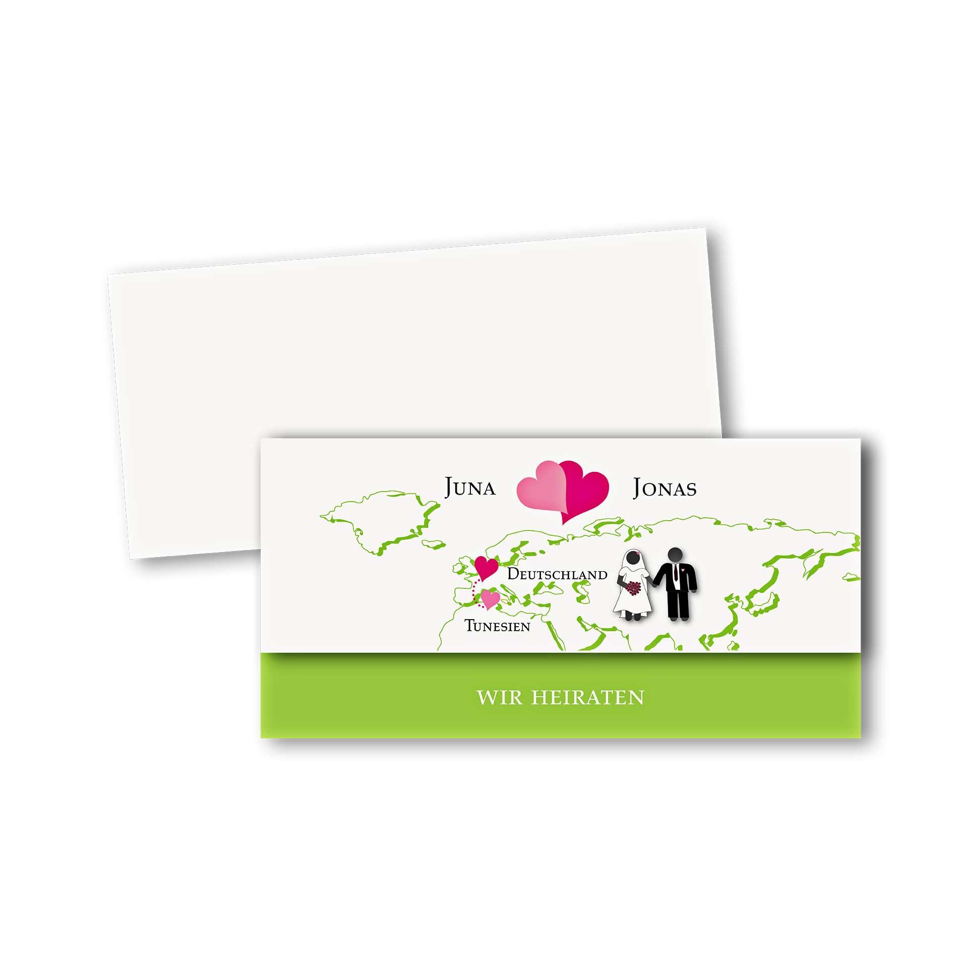 Hochzeitskarten Einladungskarte Asymmetrische Klappkarte Din Lang