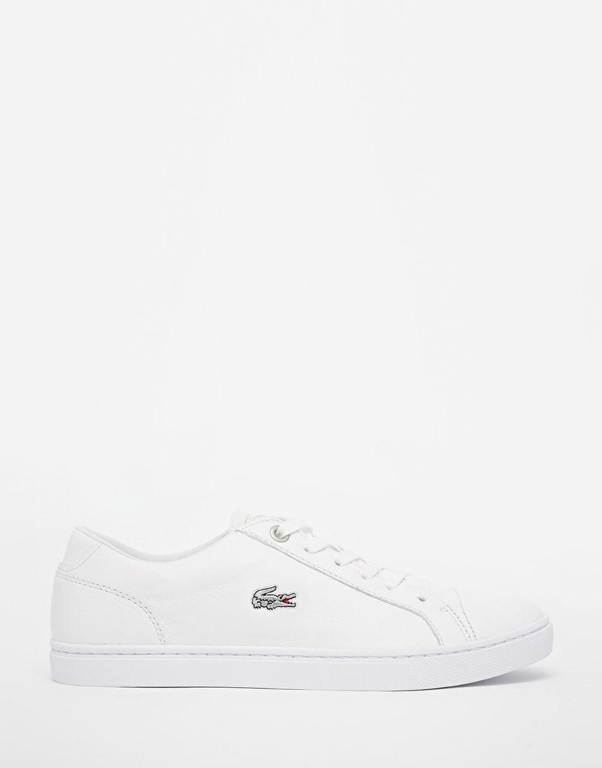 fa07efa96 Lacoste+White+Leather+Showcourt+Trainers