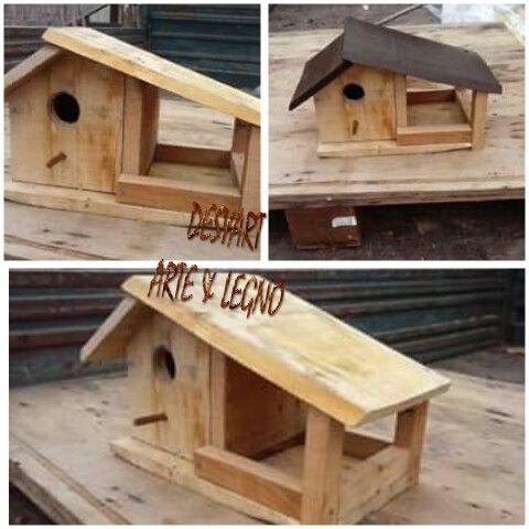 Casetta Per Uccellini Con Mangiatoia In Legno Desyart Arte E Legno