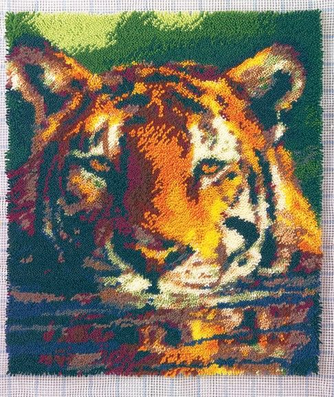 This Rug Depicts A Tiger Taking A Refreshing Dip In A