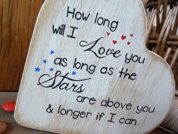 Wooden Heart with Quote, Valentines day gift, Love You Heart Plaque, Free Standing Heart with Quote