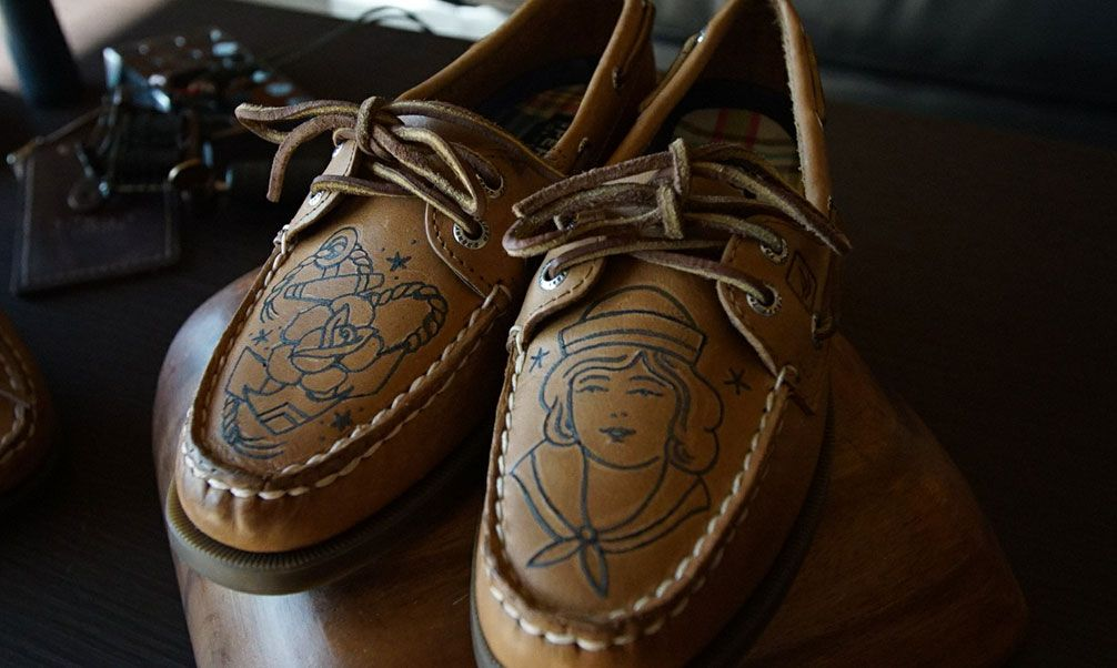 18143a411983e9 Custom Sperry Ink tattooed shoes designed by tattoo artists Rob Hotte and  Eva Huber