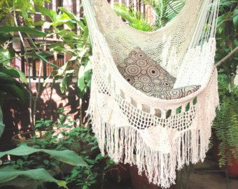 One Color Single Hammock Hand Woven Natural Cotton By Hamanica · Hammock  ChairHanging ...