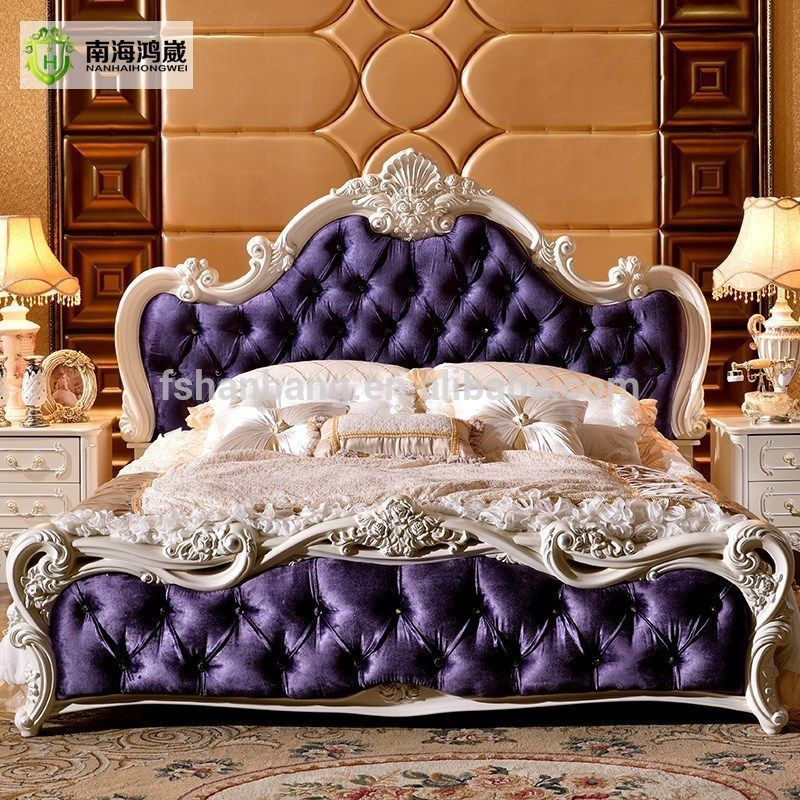 Victorian Style Rich Blue Bed Frame French Style Bedroom