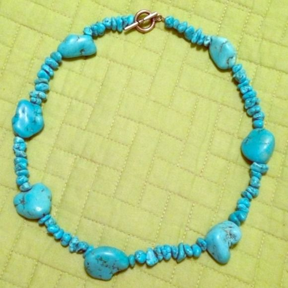 Vintage Turquoise Necklace Genuine vintage turquoise necklace with silver clasp. It's heavy duty with beautiful different sized turquoise stones. I've had it for about 20 years, and it was my aunts long before that. (I just never get any wear out of it!) Gorgeous piece! Jewelry Necklaces