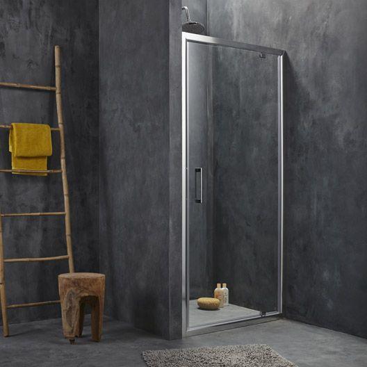 Porte de douche pivotante sensea remix verre transparent for Porte douche verre
