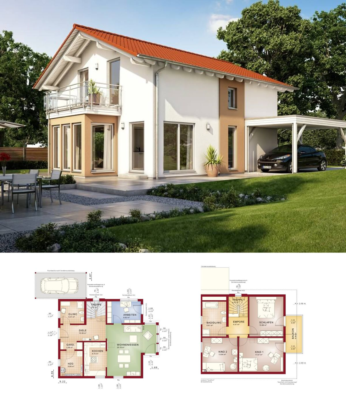 Modernes haus solution 134 v7 living haus for Modernes einfamilienhaus grundriss