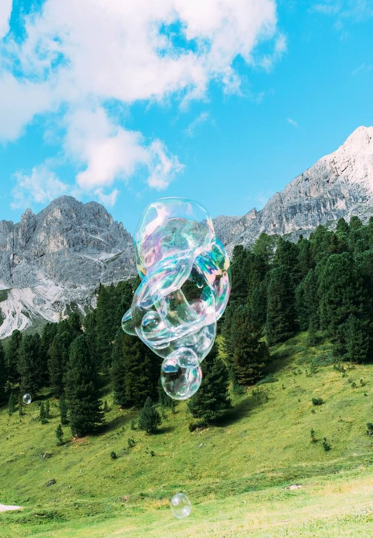 Original Art Color/C-type/Digital/Photo Photography, measuring: 70W x 100H x 1D cm, by: Marlies Plank (Austria). Styles: Fine Art, Modern, Documentary, Photorealism, Conceptual. Subject: Landscape. Keywords: Soapbubble, Mountains, Photography, Sky, Fine Art, Conceptual, Blue, Forest, Summer, Phantasy, Green. This Color/C-type/Digital/Photo Photography is one of a kind and once sold will no longer be available to purchase. Buy art at Saatchi Art.