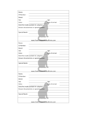 Printable Cat Adoption 3x5 Cage Card Pet Vet Animal Shelter Cat Adoption