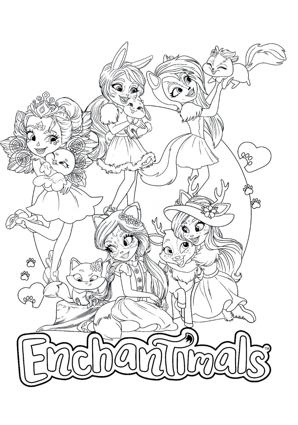 Раскраски Энчантималс для девочек. Распечатать бесплатно ...